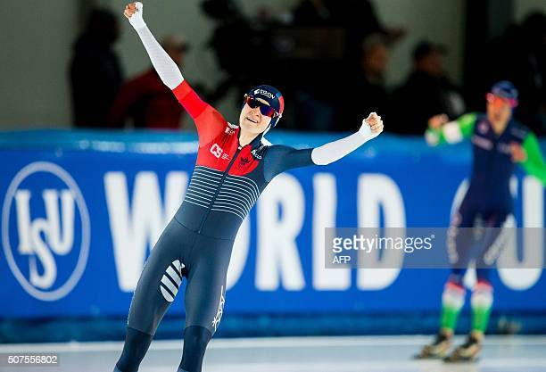 Martina Sablikova of the Czech Republic celebrates after winning the 1500m race of the Speedskating World Cup competition in Stavanger Norway on...