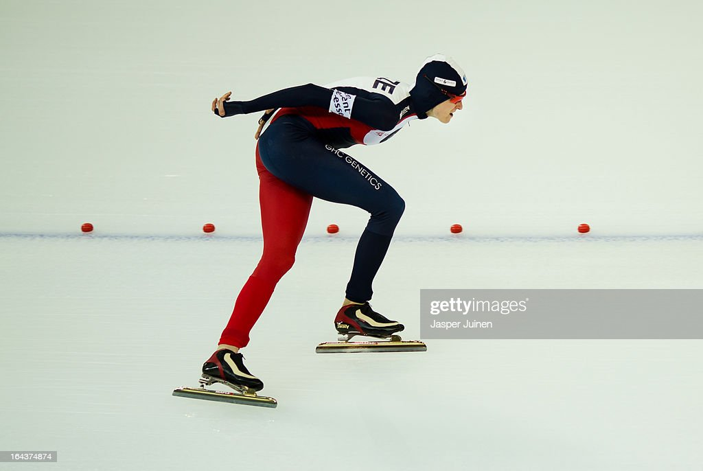 Martina Sablikova of the Czech Republic competes on her way to gold during the 5000m race on day three of the Essent ISU World Single Distances Speed Skating Championships at the Adler Arena Skating Center on March 23, 2013 in Sochi, Russia.