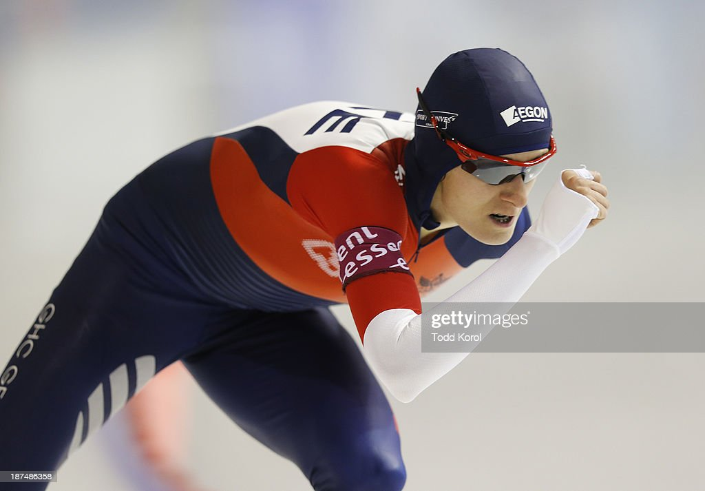 <a gi-track='captionPersonalityLinkClicked' href=/galleries/search?phrase=Martina+Sablikova&family=editorial&specificpeople=799963 ng-click='$event.stopPropagation()'>Martina Sablikova</a> of the Czech Republic skates to a third place finish in the women's 1500 meter race during the ISU World Cup Speed Skating event November 9, 2013 in Calgary, Alberta, Canada.