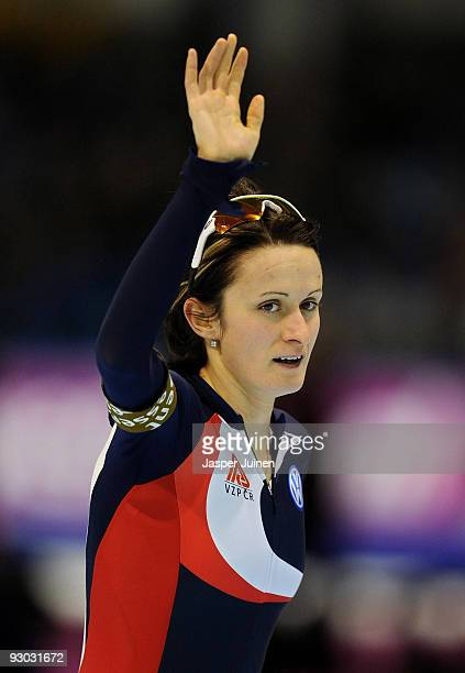 Martina Sablikova of the Czech Republic waves to the fans after clocking the second best time in the 3000m race during the Essent ISU speed skating...