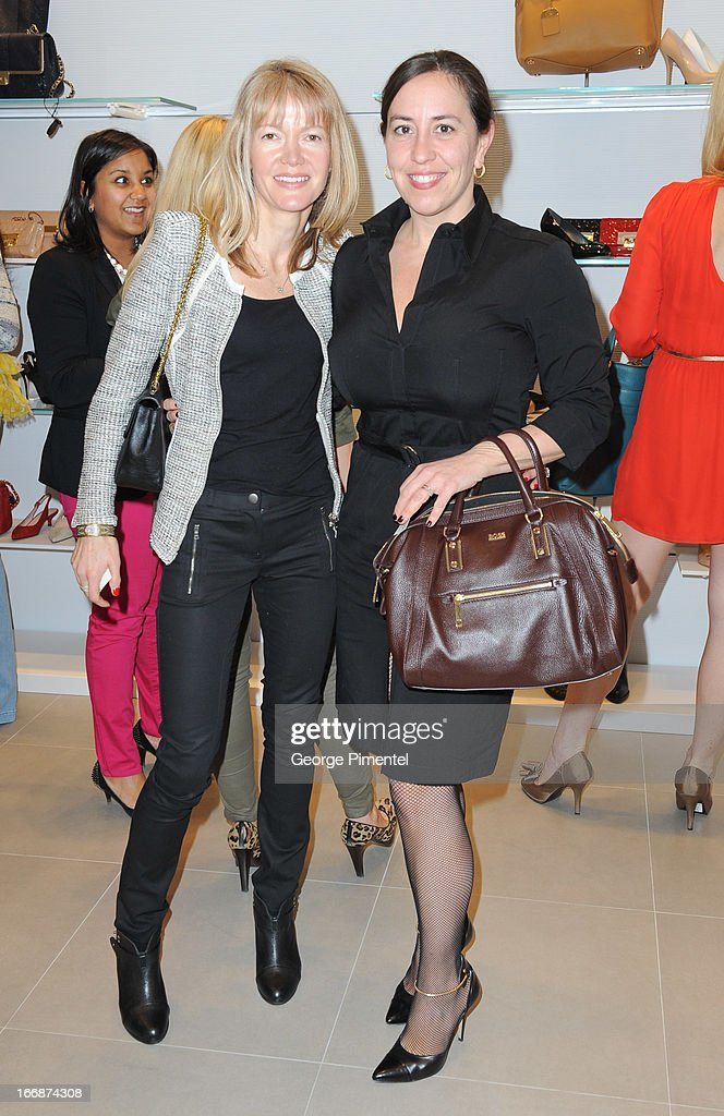 Martina Siegel and Emma MacDonald attend opening of Stuart Weitzman Boutique on April 17, 2013 in Toronto Ontario Canada.