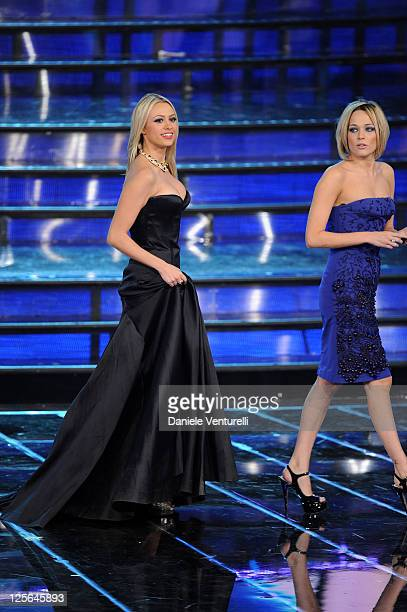 Martina Stella and Laura Chiatti attend the 2011 Miss Italia beauty pageant at the Palazzetto of Montecatini on September 19 2011 in Montecatini...