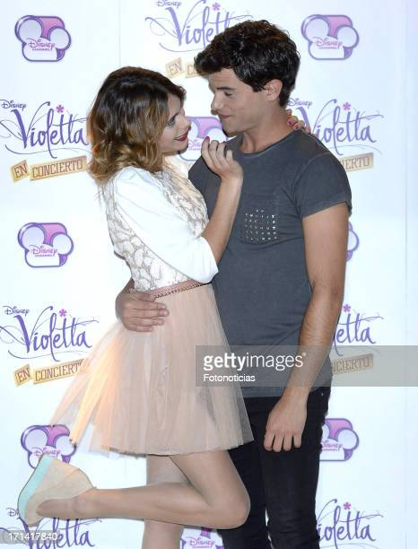 Martina Stoessel and Diego Dominguez attend a photocall for 'Violetta' at Emperador Hotel on June 24 2013 in Madrid Spain