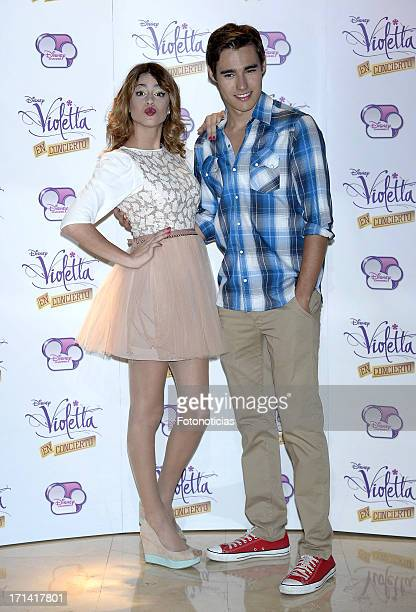 Martina Stoessel and Jorge Blanco attend a photocall for 'Violetta' at Emperador Hotel on June 24 2013 in Madrid Spain