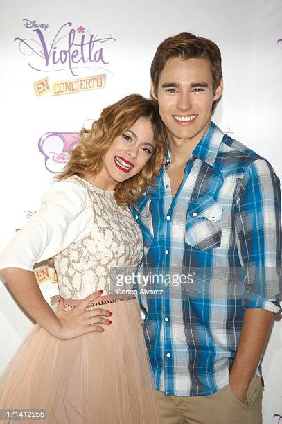 Martina Stoessel and Jorge Blanco attend the 'Violetta' photocall at the Emperador Hotel on June 24 2013 in Madrid Spain