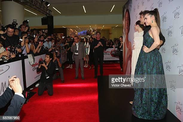 Martina Stoessel Jorge Blanco and Sofia Carson attend the 'Tini El gran cambio de Violetta' Mexico City premiere at Cinepolis Plaza Carso on May 18...