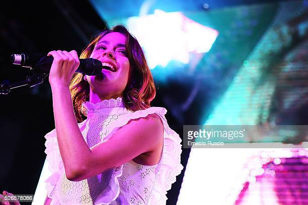 Martina Stoessel performs during the 'Meet And Greet With Tini' at Qube on April 30 2016 in Rome Italy