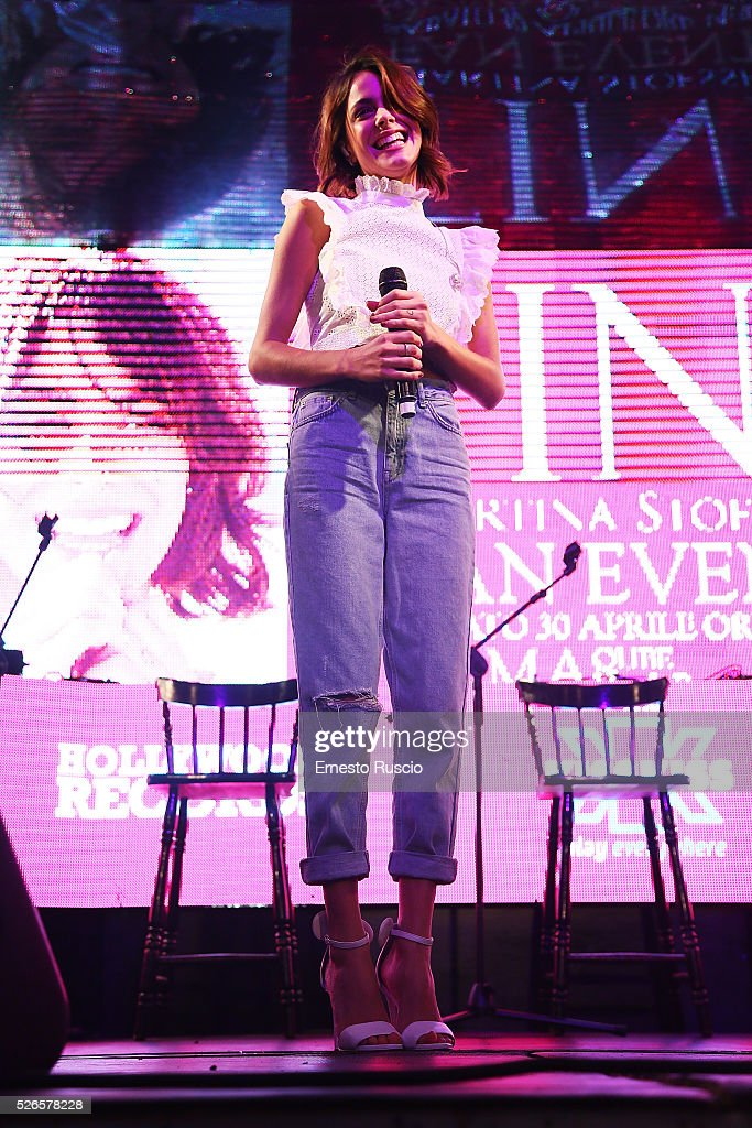 <a gi-track='captionPersonalityLinkClicked' href=/galleries/search?phrase=Martina+Stoessel&family=editorial&specificpeople=11048236 ng-click='$event.stopPropagation()'>Martina Stoessel</a> performs during the 'Meet And Greet With Tini' at Qube on April 30, 2016 in Rome, Italy.