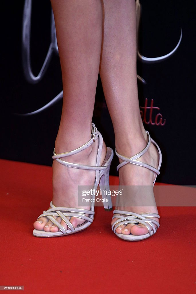 <a gi-track='captionPersonalityLinkClicked' href=/galleries/search?phrase=Martina+Stoessel&family=editorial&specificpeople=11048236 ng-click='$event.stopPropagation()'>Martina Stoessel</a>, shoes detail, attends 'Tini - The New Life Of Violetta' Photocall In Rome at Hotel Parco dei Principi on April 29, 2016 in Rome, Italy.