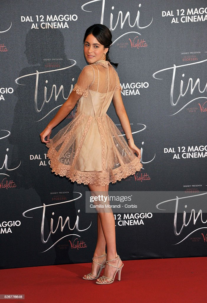 <a gi-track='captionPersonalityLinkClicked' href=/galleries/search?phrase=Martina+Stoessel&family=editorial&specificpeople=11048236 ng-click='$event.stopPropagation()'>Martina Stoessel</a> walks the red carpet at the 'Tini' photocall on April 29, 2016 in Rome, Italy.