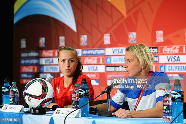Martina VossTecklenburg Coach of Switzerland and Lia Waelti address the media during a press conference before their training session at Commonwealth...