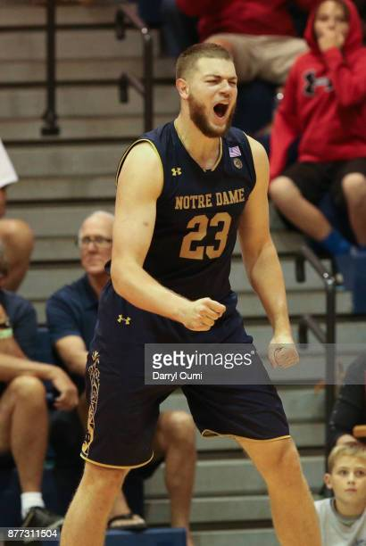 Martinas Geben of the Notre Dame Fighting Irish reacts after scoring a basket and getting fouled during the second half of the game against the LSU...
