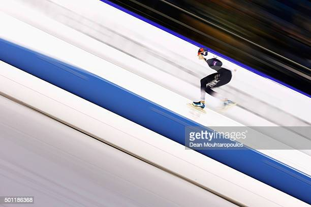 MartinaSablikova of Czech Republic competes in the 1500m Ladies race during day three of the ISU World Cup Speed Skating held at Thialf Ice Arena on...