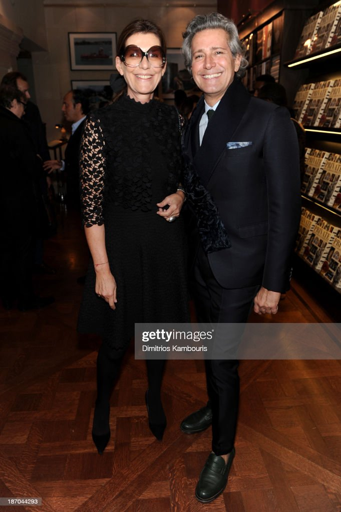 Martine Assouline and Carlos Souza attend a book signing for Giancarlo Giammetti's Autobiography 'Private Giancarlo Giammetti,' hosted by Martine and Prosper Assouline at Assouline Boutique at The Plaza Hotel on November 5, 2013 in New York City.