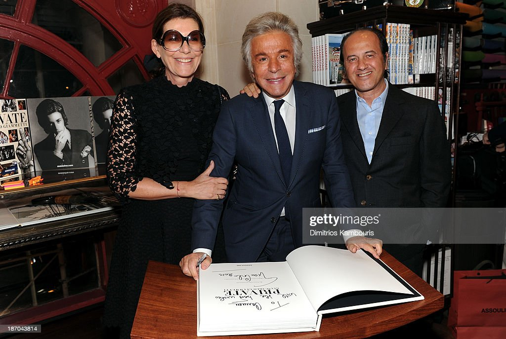 Martine Assouline, Giancarlo Giammetti and Prosper Assouline attend a book signing for Giancarlo Giammetti's Autobiography 'Private Giancarlo Giammetti,' hosted by Martine and Prosper Assouline at Assouline Boutique at The Plaza Hotel on November 5, 2013 in New York City.