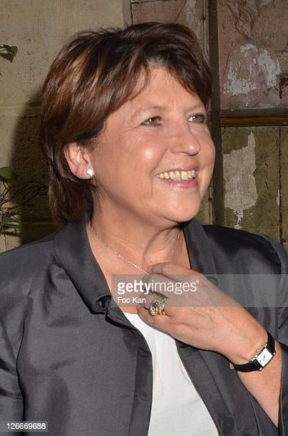 Martine Aubry attends the Clara and Marek Halter Celebrate The New Jewish Year 5772 'Under The Sign of Peace' in Their Appartment on September 25...