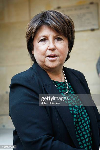 Martine Aubry is pictured before the Ousmane Sow ceremony at Institut de France on December 11 2013 in Paris France