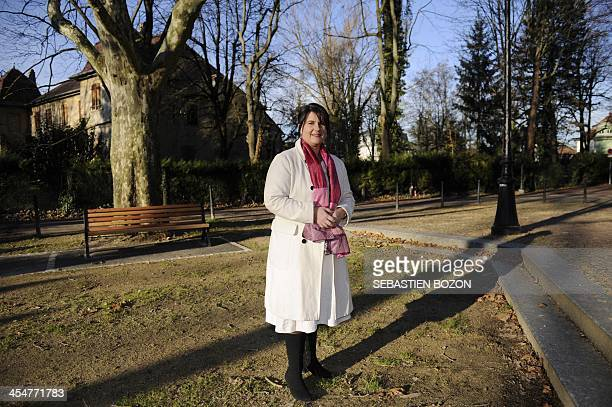 Martine Binder farright candidate for 2014 municipal elections in Mulhouse poses on December 10 2013 in Mulhouse eastern France AFP PHOTO / SEBASTIEN...