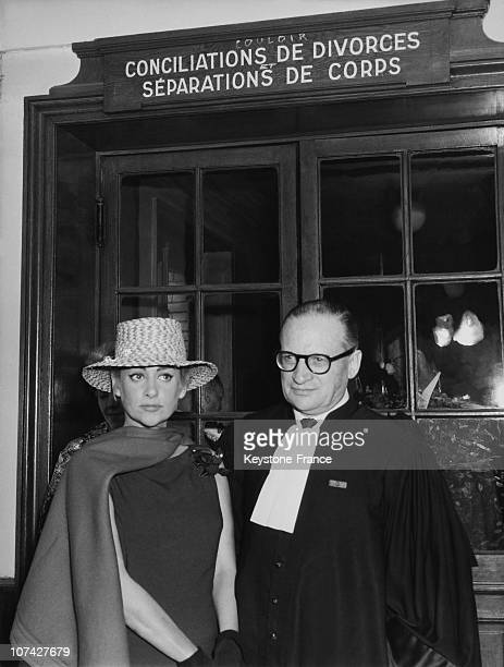 Martine Carol And Her Lawyer At The Palais De Justice At Her Divorce In Paris On August 1961