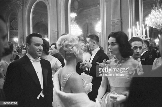 Martine Carol At The Elysee With Christian Jaque A l'Elysée le 1er Mars 1957 dans le salon Murat lors d'un gala de gauche à droite Martine CAROL...