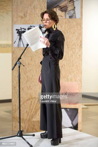 Martine d'AnglejanChatillon reads 'Tombeau pour Cinq Cent Mille Soldats' for 50th anniversary of the book at Azzedine Alaia Gallery on October 19...