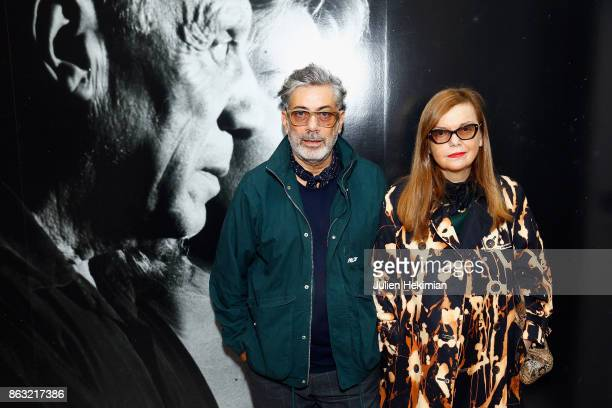 Martine Sitbon and guest attend 'Picasso and Maya Father and Daughter' Exhibition Curated By Diana Widmaier Picasso at Gagosian Paris on October 19...