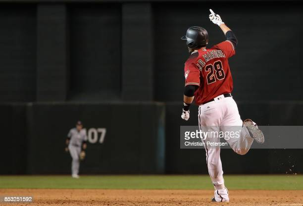 D Martinez of the Arizona Diamondbacks celebrates after his game winning RBI single against the Miami Marlins during the ninth inning of MLB game at...