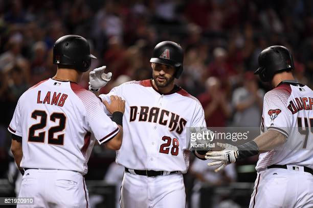 Martinez of the Arizona Diamondbacks celebrates with teammates Jake Lamb and Paul Goldschmidt after hitting a threerun home run off of Matt Wisler of...