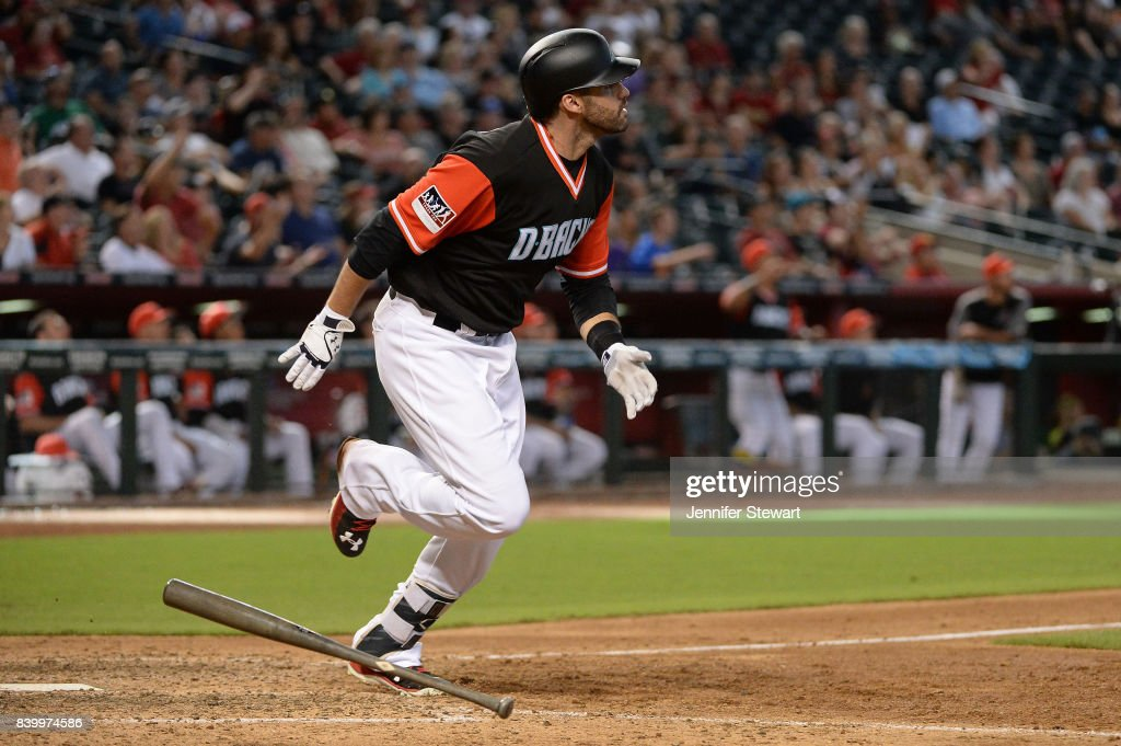 J.D. Martinez #28 of the Arizona Diamondbacks hits a solo home run in the eighth inning against the San Francisco Giants at Chase Field on August 27, 2017 in Phoenix, Arizona.