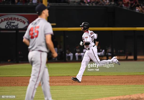 Martinez of the Arizona Diamondbacks rounds the bases after hitting a three run home run off of Matt Wisler of the Atlanta Braves during the sixth...