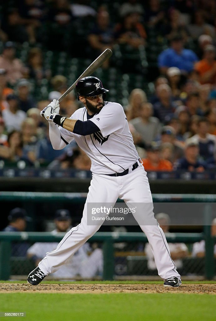 D Martinez of the Detroit Tigers bats against the Kansas City Royals at Comerica Park on August 15 2016 in Detroit Michigan