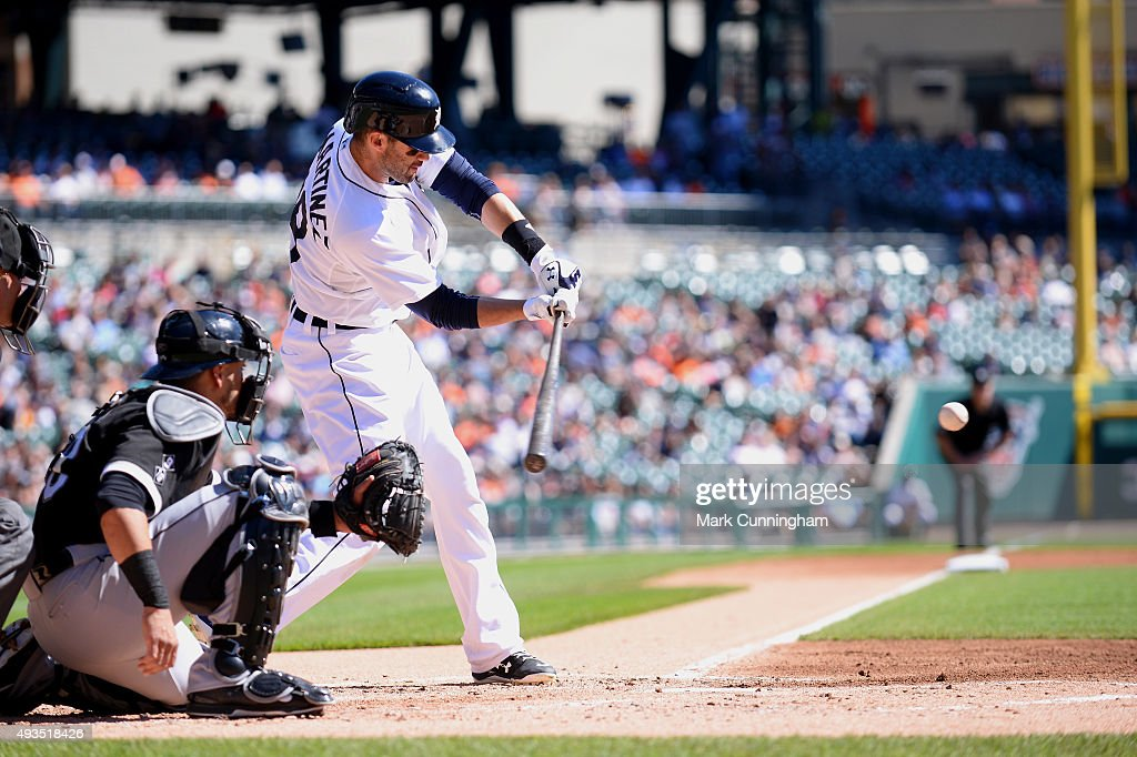 J.D. Martinez #28 of the Detroit Tigers bats during the first game of a doubleheader against the Chicago White Sox at Comerica Park on September 21, 2015 in Detroit, Michigan. The White Sox defeated the Tigers 2-0.