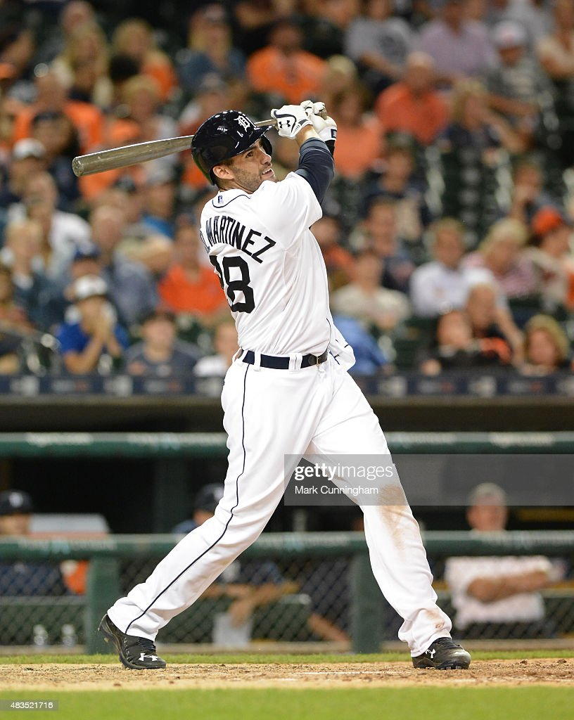 D Martinez of the Detroit Tigers bats during the game against the Kansas City Royals at Comerica Park on August 4 2015 in Detroit Michigan The Royals...