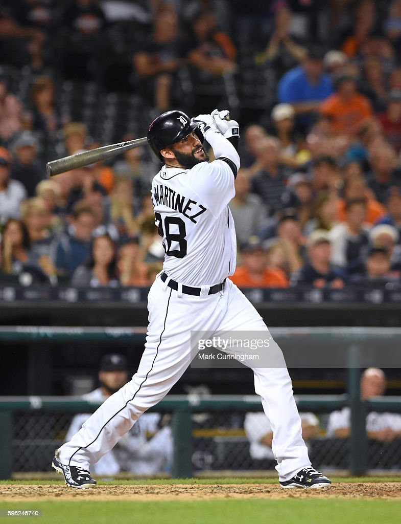 D Martinez of the Detroit Tigers bats during the game against the Kansas City Royals at Comerica Park on August 15 2016 in Detroit Michigan The...