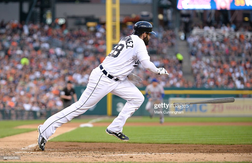 D Martinez of the Detroit Tigers bats during the game against the New York Mets at Comerica Park on August 6 2016 in Detroit Michigan The Tigers...