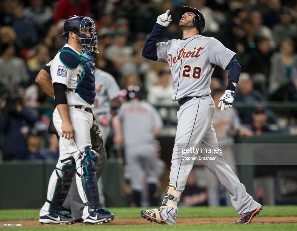 J.D. Martinez #28 of the Detroit Tigers celebrates hitting a solo home run off of relief pitcher Dan Altavilla #53 of the Seattle Mariners during the eighth inning of a game at Safeco Field on June 20, 2017 in Seattle, Washington.