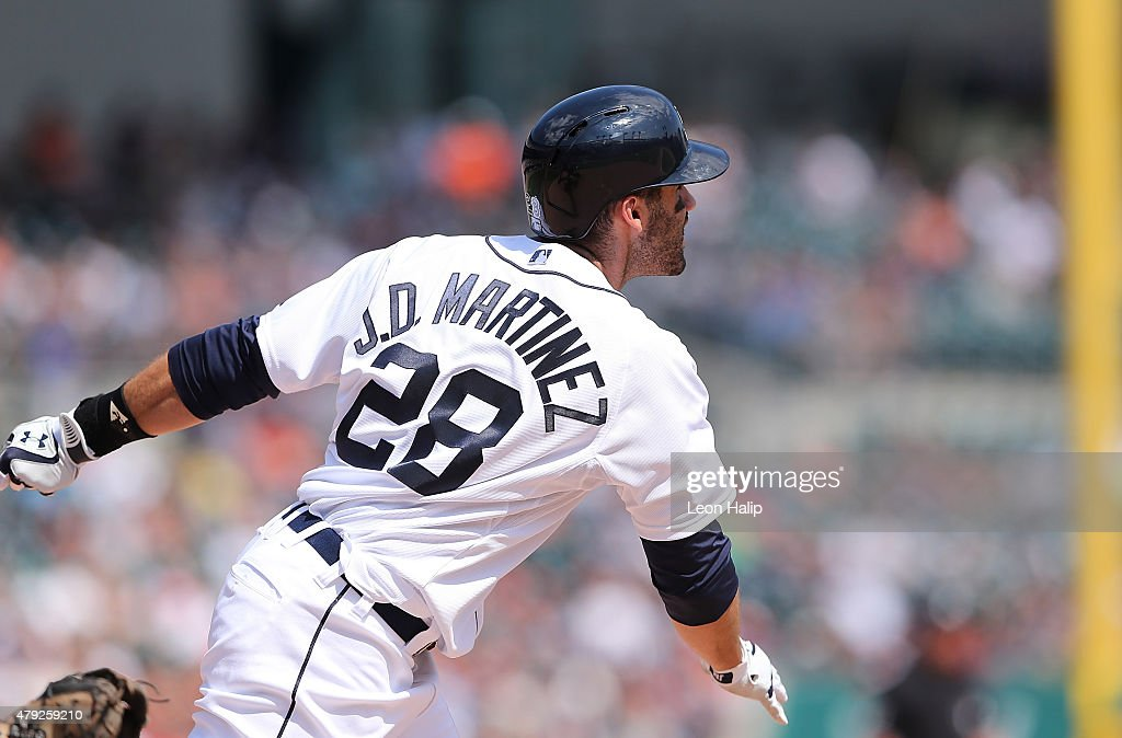 D Martinez of the Detroit Tigers hits a three run home run in the eighth inning of the interleague game against the Pittsburgh Pirates on July 2 2015...