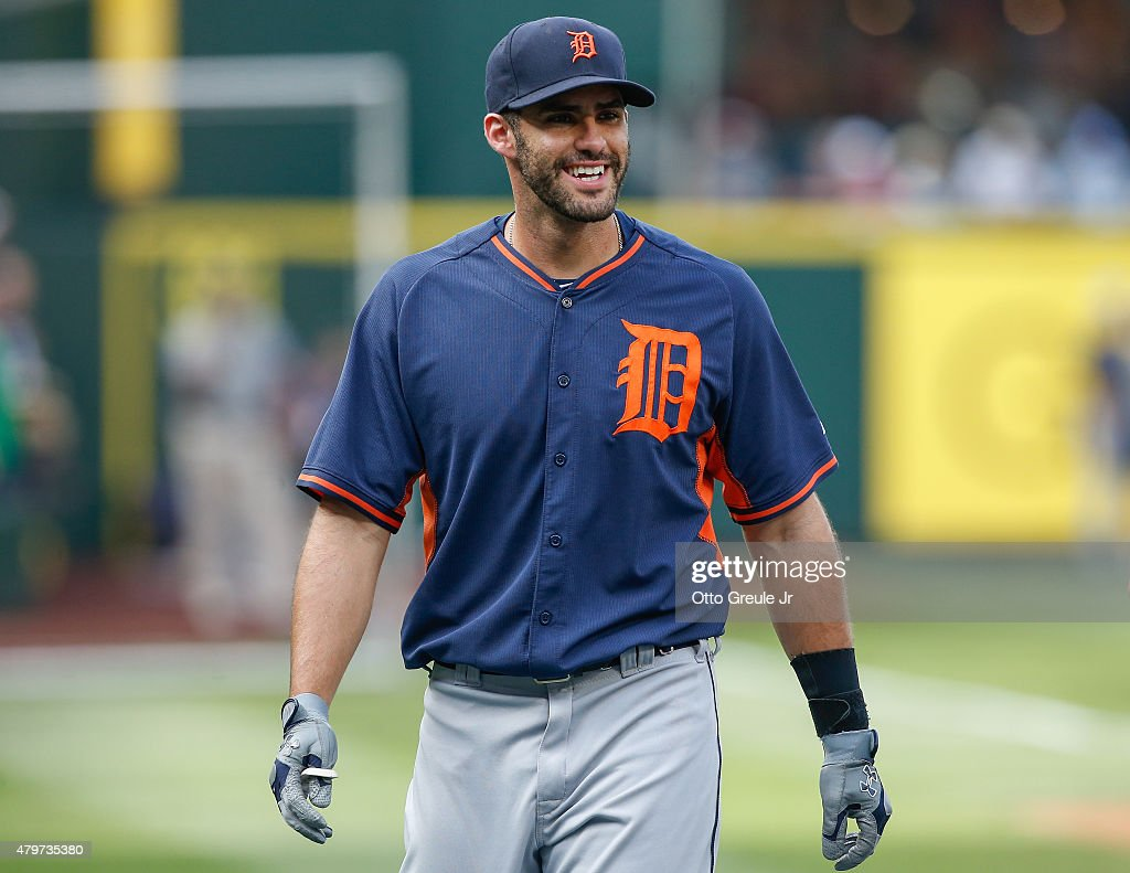 D Martinez of the Detroit Tigers looks on during batting practice prior to the game against the Seattle Mariners at Safeco Field on July 6 2015 in...