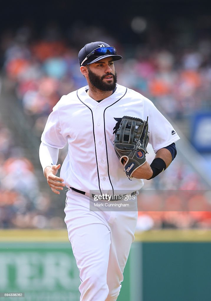 D Martinez of the Detroit Tigers looks on during the game against the Boston Red Sox at Comerica Park on August 18 2016 in Detroit Michigan The...