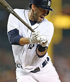 D Martinez of the Detroit Tigers reacts after getting hit by a pitch during the seventh inning of the game against the Cleveland Indians on September...