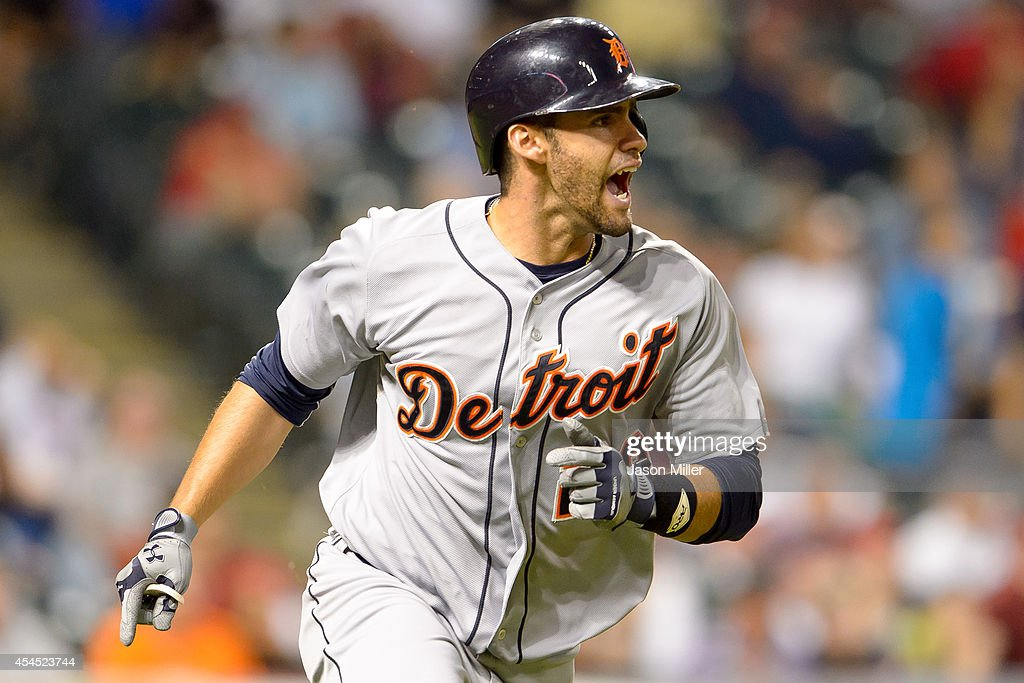 D Martinez of the Detroit Tigers reacts on the base paths after hitting a threerun home run during the ninth inning against the Cleveland Indians at...