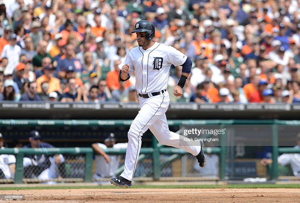 <a gi-track='captionPersonalityLinkClicked' href=/galleries/search?phrase=J.D.+Martinez&family=editorial&specificpeople=7520024 ng-click='$event.stopPropagation()'>J.D. Martinez</a> #28 of the Detroit Tigers runs the bases during the game against the Chicago White Sox at Comerica Park on July 31, 2014 in Detroit, Michigan. The White Sox defeated the Tigers 7-4.