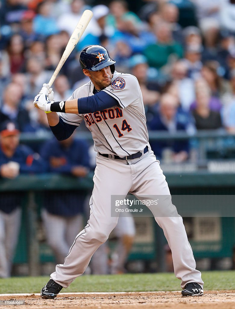 J.D. Martinez #14 of the Houston Astros bats against the Seattle Mariners at Safeco Field on June 12, 2013 in Seattle, Washington.