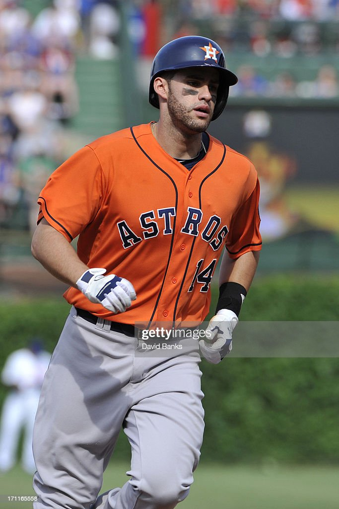 <a gi-track='captionPersonalityLinkClicked' href=/galleries/search?phrase=J.D.+Martinez&family=editorial&specificpeople=7520024 ng-click='$event.stopPropagation()'>J.D. Martinez</a> #14 of the Houston Astros runs the bases after hitting a three-run home run against the Chicago Cubs during the sixth inning on June 22, 2013 at Wrigley Field in Chicago, Illinois.