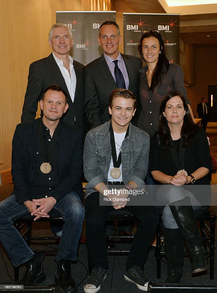 Martingale Entertainment's Ansel Davis, BMI's Mike O'Neill, and Martingale Entertainment's Betsy McHugh; (front row, l-r): co-writer Troy Verges, Hunter Hayes and co-writer Lori McKenna during the BMI and Hunter Hayes Celebration of the No. 1 Song 'I Want Crazy' at BMI offices In Nashville on October 8, 2013 in Nashville, Tennessee.
