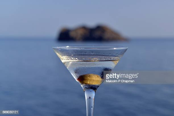 Martini cocktail by the sea, Lesvos, Greece