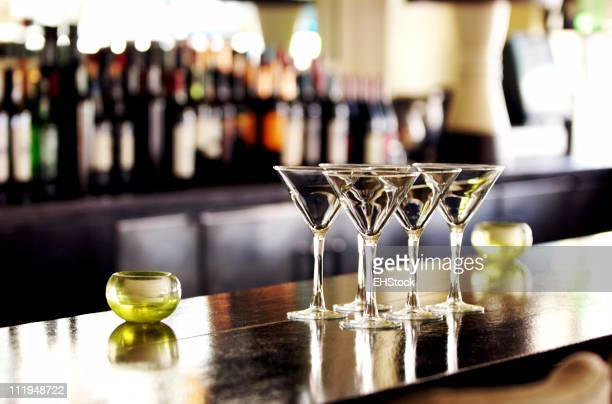 Martini Cocktail Glasses on Bar