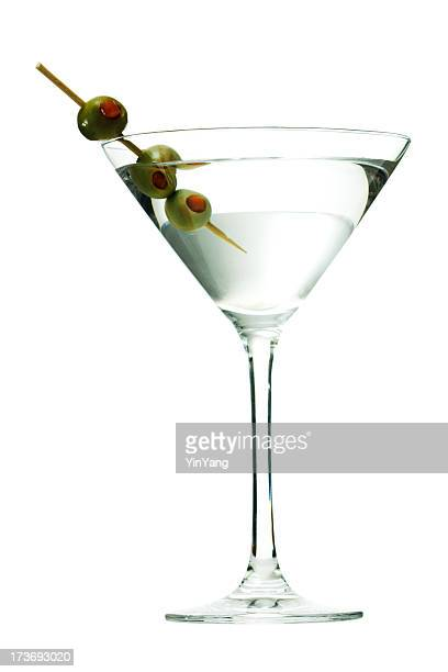 Martini Glass Cocktail, Alcoholic Drink with Olives on Toothpick, Isolated