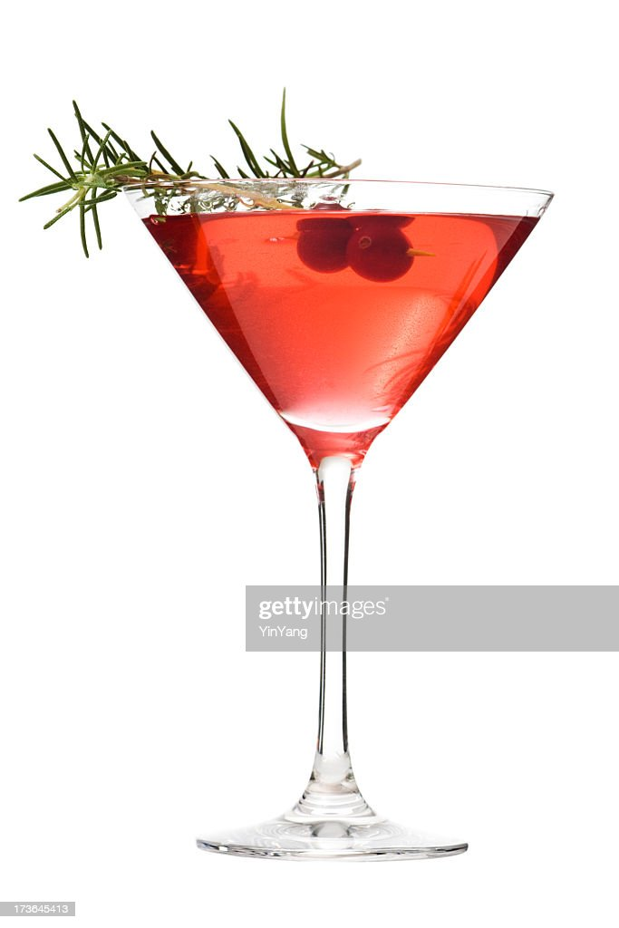Martini Glass of Cosmopolitan Cocktail, Red Alcoholic Beverage on White