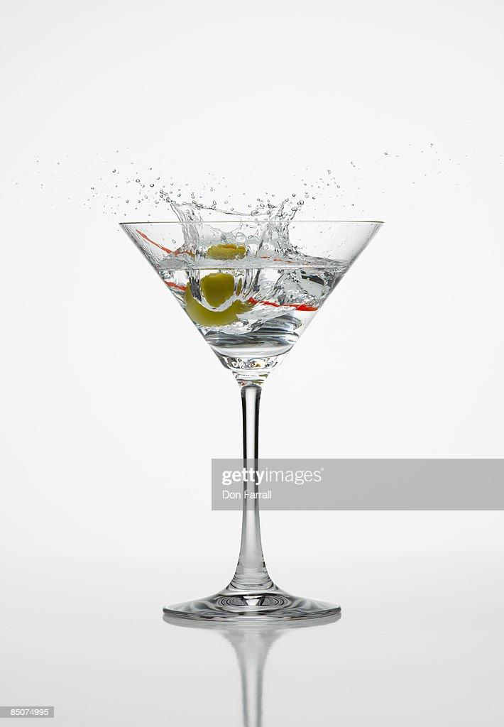 Martini splash white background
